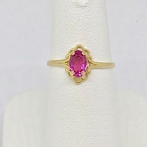 Vintage PS Co. pink sapphire ring in 10kt YG